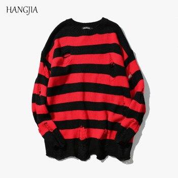 Черные, красные свитера в полоску, женский свитер с потертостями, мужской модный вязаный джемпер оверсайз с дырками для мужчин и женщин, уни...