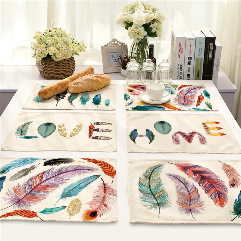 1Pcs Colorful Feather Pattern Placemat Coaster Cotton Linen Kitchen Pads Dining Table Mats Western Mat 42*32cm Home Decor MA0006