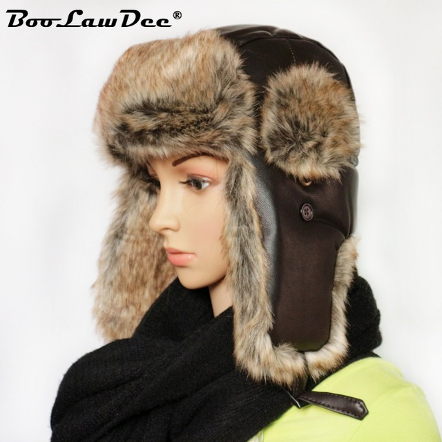 39caeed8b5aab BooLawDee winter warm trapper hat women and men aviator Russian army cap  leisure ear flaps headpiece 56 58 60 62 cm M206