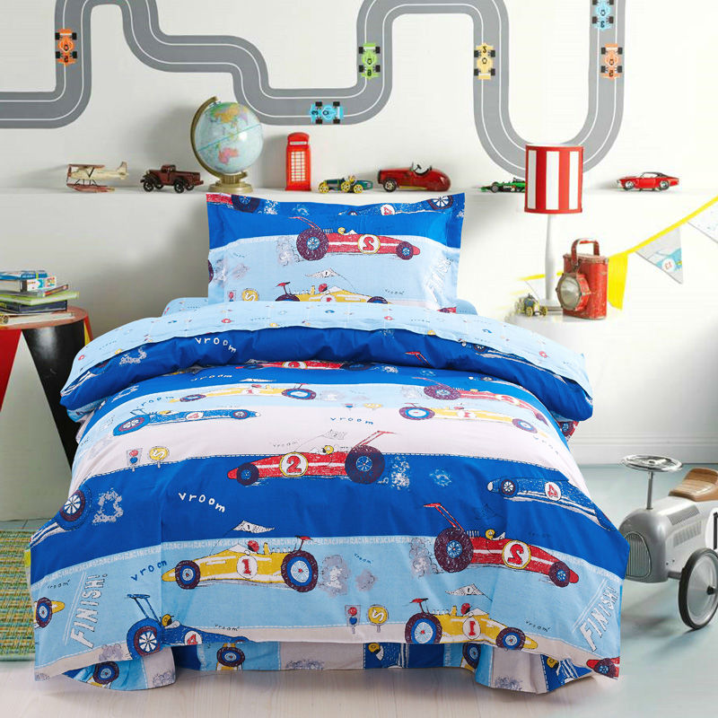 bedding set 3pcs car pattern kids cartoon for singel bed duvet cover set 100cotton