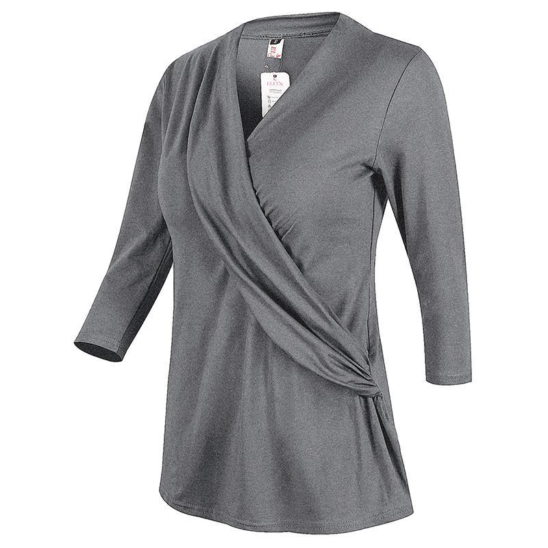 Fashion Women Blouse Casual Loose Solid Shirt Office Tops Femininas Blusas Black Grey Clothing Plus Size S-XXL B6238X
