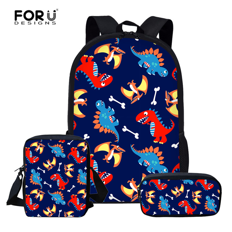 FORUDESIGNS 3pcs Children School Backpack Set Cartoon Dinosaur School Bags For Girls Boys Preppy Rucksack Kid Cute Book Bag