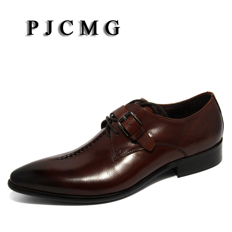 PJCMG oxford Shoes Deep coffee color/Dark yellow/ black mens business dress shoes genuine leather pointed toe mens wedding shoes top quality crocodile grain black oxfords mens dress shoes genuine leather business shoes mens formal wedding shoes