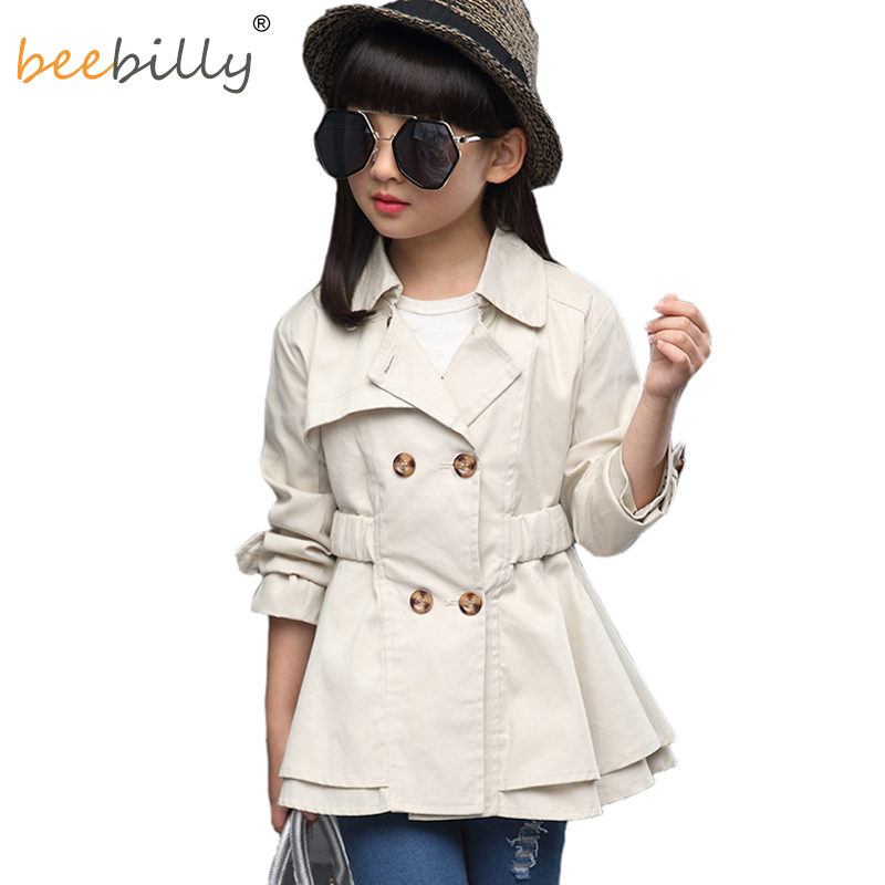 BEEBILLY Girls Trench Coat Autumn 2017 Children Long Coat Kids Cotton Outerwear Jackets Teenage Girls Clothing Fashion Outwear цены