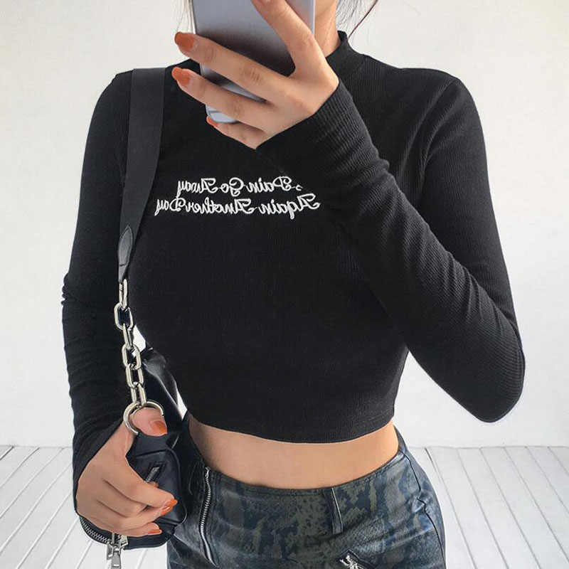 0a1203a9bf0 Long Sleeve Crop Top Tees Basic TShirt Black Sexy Letter Embroidery Shirt  Women Autumn Winter O