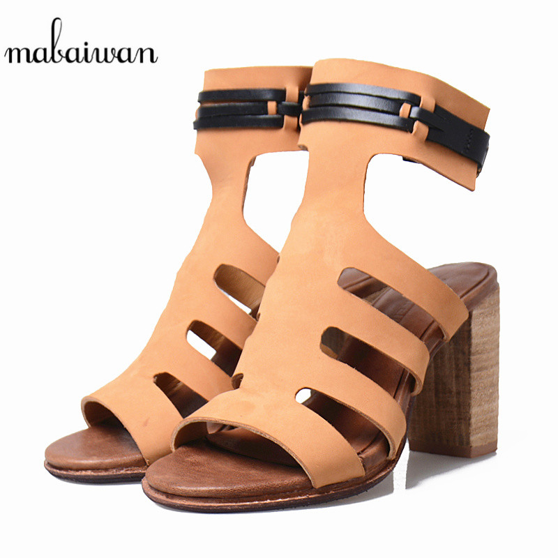 Mabaiwan Sweet Summer Sandals For Women Slippers Thick High Heels Genuine Leather Peep Toe Dress Casual Shoes Women Buckle Pumps summer new pointed thick chunky high heels closed toe pumps with buckle ankle wraps sweet sandals women pink black gray 34 40