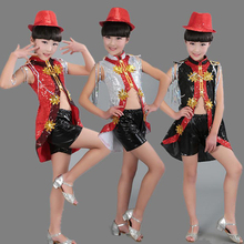 Children Sequined Modern Jazz ballroom dance Costume Girl Sequined dancing Outfits  Kids Party Stage wear show Outfits wholesale