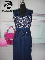 2017 Custom Made Navy Blue Chiffon Lace Applique Beading Elegant Long Evening Dress Evening Gown Party Dress Formal Dress