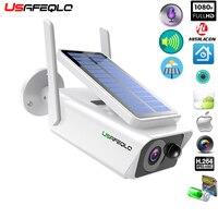 USAFEQLO telecamera di sorveglianza grandangolare pannello solare batteria ricaricabile 1080P Full HD telecamera IP WiFi per esterni di sicurezza interna