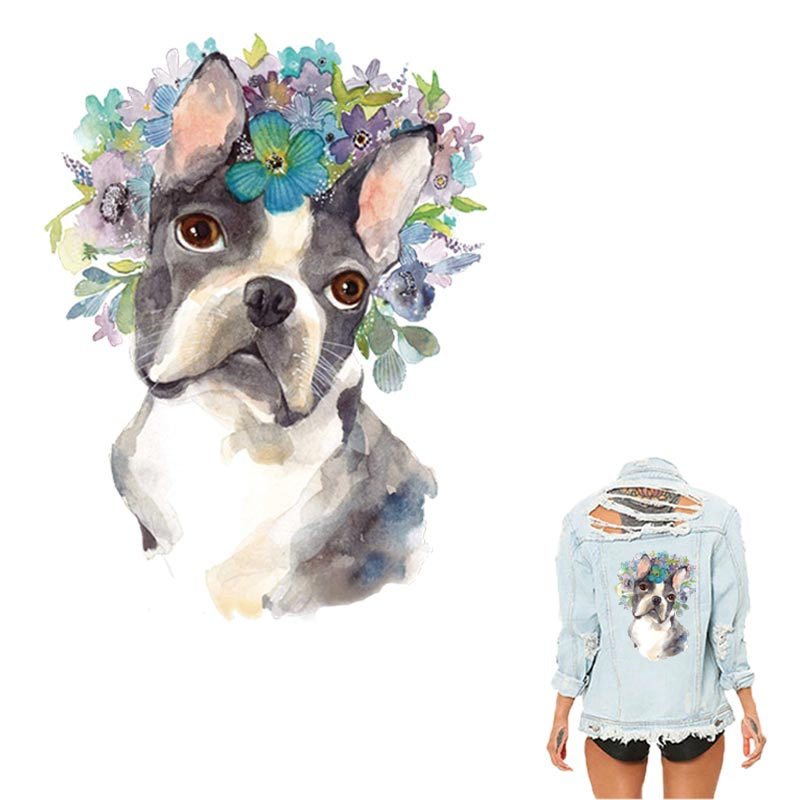 COSBILL Iron On Stickers Cute Dog Patches For Clothing Watercolor DIY Washable Appliqued For Clothes Heat Transfers Y-092