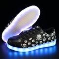 SYTAT 7 Цвета Унисекс Led Световой Обувь Напечатаны Череп головы Моды для Мужчин USB Свет Обувь для Взрослых
