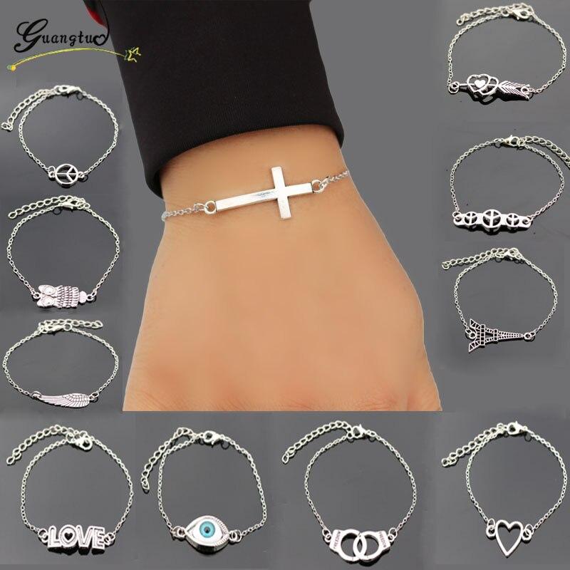 1 шт., модные очаровательные браслеты, звенья цепи, браслет, крест, сердце, манжеты, любовь, мир, глаз, подарок на день Святого Валентина, модны...