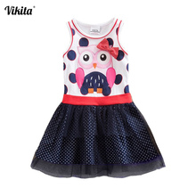 VIKITA Brand Girls Tulle Dresses Cartoon Dress for Baby Girls Tutu Princess Dresses Children Girls Summer Clothing SH4556 Mix cheap COTTON Above Knee Mini O-neck REGULAR Short Casual Fits smaller than usual Please check this store s sizing info Embroidery