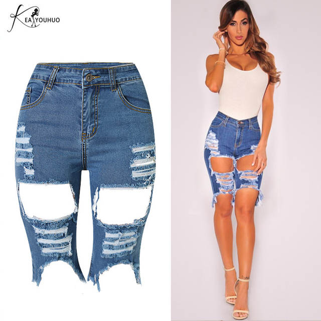 fb6ece5c62b Online Shop 2018 Women Jeans With High Waist Knee Length Denim Shorts For  Women Feminino Brand Summer Hot Jeans Cotton Denim Pocket Trousers