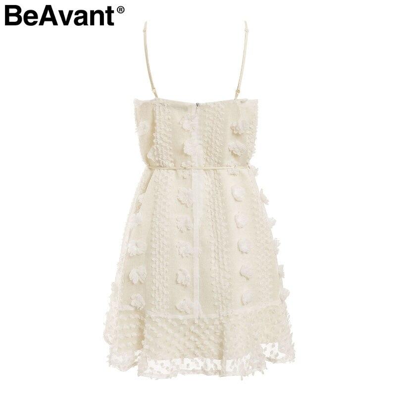 BeAvant Vintage flower embroidery short dress women Elegant spaghetti strap lace up sundress White ruffled summer ladies dresses 10