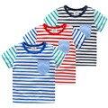 Baby boy полоса короткий рукав Футболки 2016 лето детская одежда ребенка основным рубашка дети мальчиков Одежда