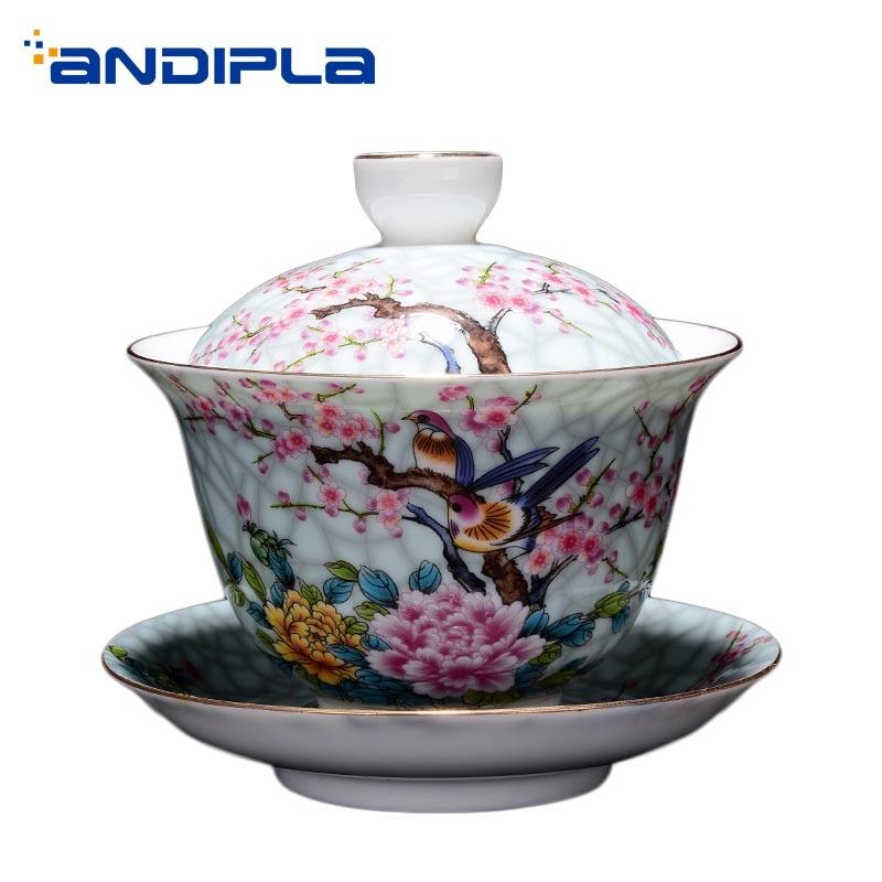 Longquan Gaiwan Set Porcelain Tea Cup Handpainted Floral Sancai Tea Cup 170ml