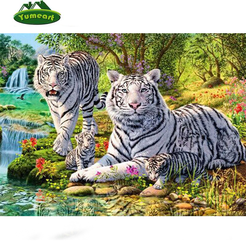 White King Tigers Family Diamond painting animal Diamond embroidery scenery Diy picture of crystals mosaic patchwork Craft hobby
