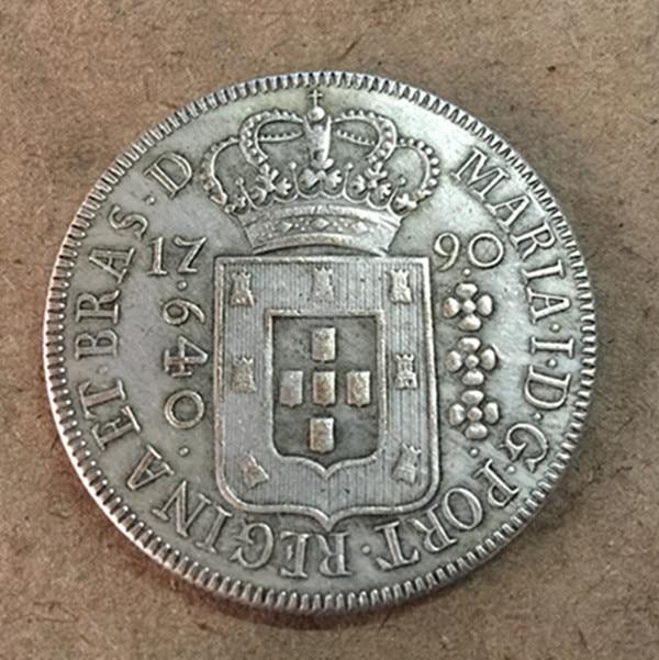 1790 Бразилия 640 Reis-Мария я серебро Копировать монет