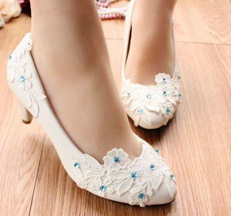 100% handmade wedding shoes white, lace blue patchwork fashion ladies white party pumps shoes, TG056 mid-heel dance shoes