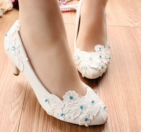 de 100 encaje de de TG056 zapatos zapatos a blanco señoras hecho de de talón blanco Mediados boda bombas del las baile zapatos azul partido remiendo mano 0SqnrIqHw8