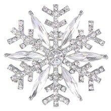 BELLA Fashion Christmas Gift Snowflake Bridal Brooch Pin Austrian Crystal Rhinestone Brooch Pin Silver Plated For Wedding Party