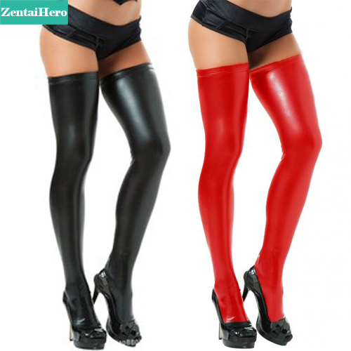 dc240c88d66 Free Shipping Adult Sexy Black Red Silver Wet Look Wetlook Shiny Metallic  Faux Vinyl Thighs High Stockings Plus Size HSK201