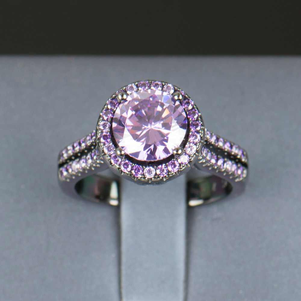 R & J 2016, женское модное кольцо с фиолетовыми кристаллами, 5А, циркониевое ювелирное изделие, 10KT, Черное золото, заполненное, кольца на палец, мужской бренд, свадьба, помолвка
