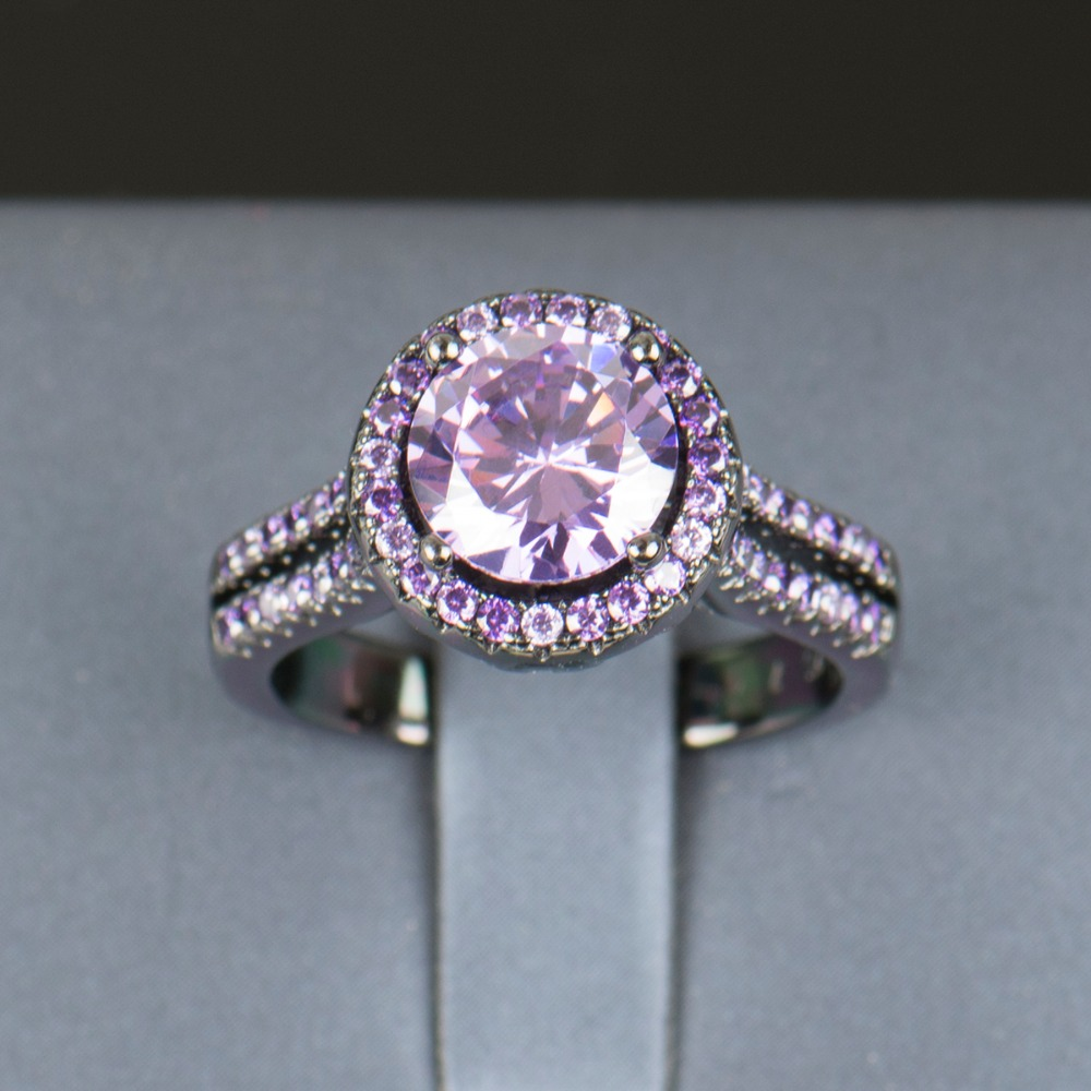 R&J 2016 Women Fashion Purple Crystal Ring 5A Zircon Jewelry 10KT - Fashion Jewelry - Photo 2