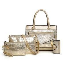4Pcs/Set Luxury Brand Crocodile Women Bag Gold Red Patent Leather Handbags Set Large Capacity Shoulder Female Wallet