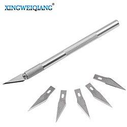 Não-deslizamento de metal bisturi faca ferramentas kit cortador de gravura facas artesanais + 5 pçs lâminas do telefone móvel pcb diy reparação ferramentas manuais