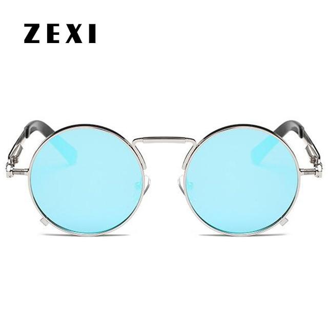 7e0927cb1b1e1 ZEXI Lady Round Sunglasses John Lennon Sun glasses Women 2017 Transparent  Round Glasses Clear Lens Trend UV400 8234