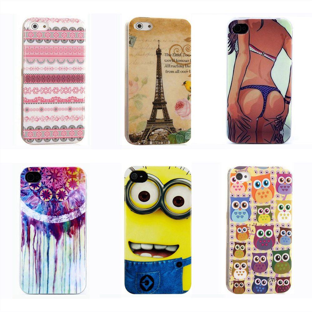 Luxury 5 Stars Eiffel Tower Bow Polka Dots Sleeping Owl Flag TPU Silicon Phone Case iPhone 4s 4G 4 Back Cover Skin Shell Bag - TATUKE Store store