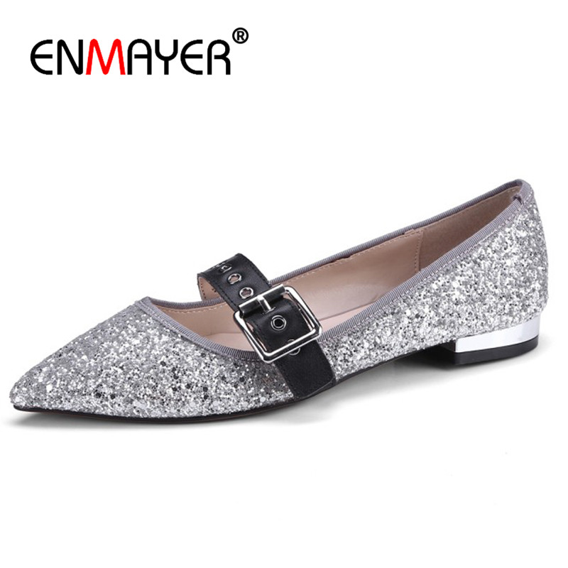 ENMAYER Pointed Toe Shallow Flats Shoes Woman Size 39 Black Pink Silver Shoes Buckle Casual Shoes Womens new 2017 spring summer women shoes pointed toe high quality brand fashion womens flats ladies plus size 41 sweet flock t179