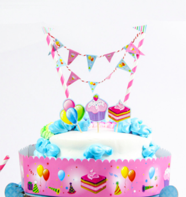 Free Shipping Blue Pink Baby Birthday Cake Topper Birthday Party