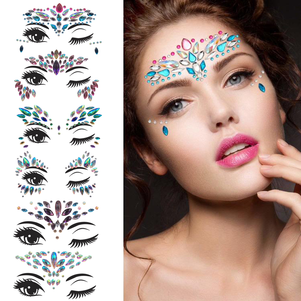 24 Styles Adhesive Sticky Gems Sticker Makeup Face Boob Jewel Crystal Festival Gems Party Makeup Stickers Face Jewels Body Gems