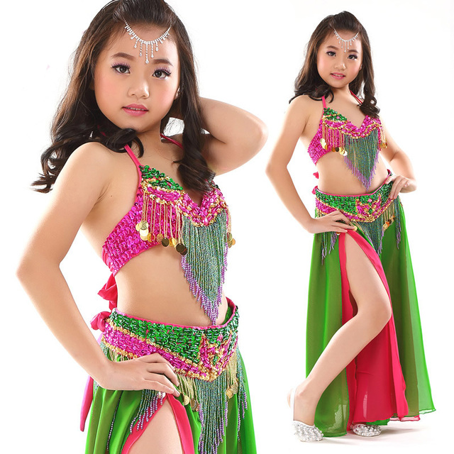 f96b5f2dc8ad66 Kids Belly Dance Costume Performing Dancewear Indian Bollywood Bellydance  Clothing For Children Top Bra + Ceinture Belt + Skirt