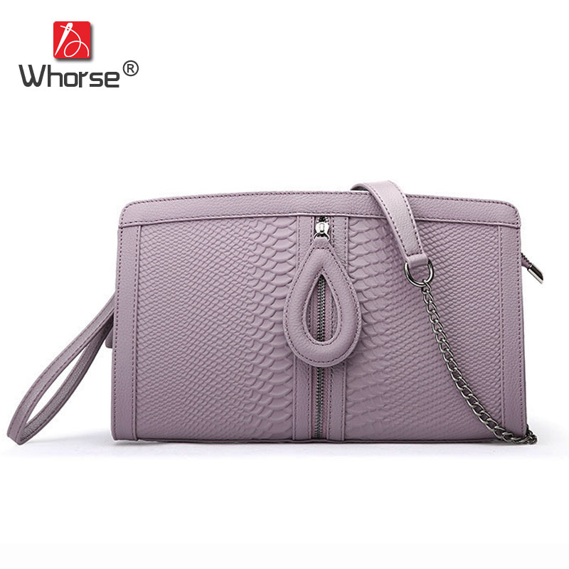 [WHORSE] Famous Brand Serpentine Women Lady Fashion Genuine Leather Clutch Purse Wallet Envelope Bag Chain Messenger Bags W1260 vm fashion kiss genuine leather serpentine chain small messenger bags for women high quality mini shoulder bags falp bag lady