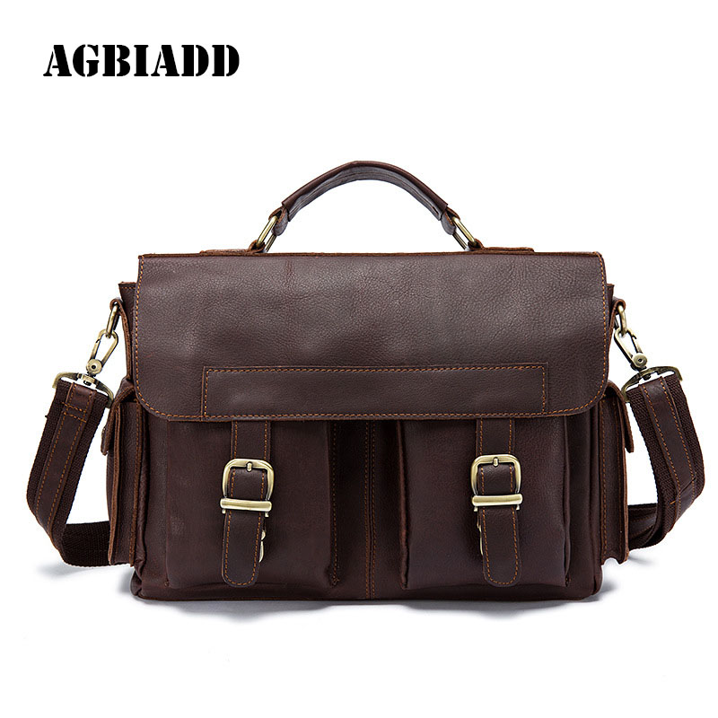 AGBIADD Men Messenger Bag High Quality Men Genuine Leather Crossbody Bags For Men Vintage Brown Shoulder Bags 517 xi yuan 2017 genuine leather bags men high quality messenger bags small travel dark brown crossbody shoulder bag for men gifts