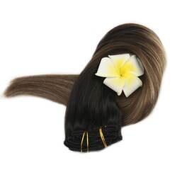 Полный блеск полная головка зажим в наращивание волос двойной уток черный корни Омбре цвет 1B выцветание до 6 и 27 100 г 10 шт. зажим для волос в