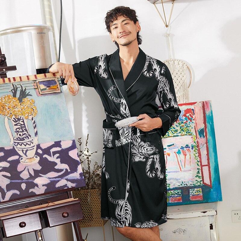 Double-Face Silk Satin Men Kimono Robe Gown Bathrobe Dress Pajamas Chinese Men/'s