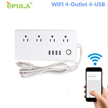 WiFi Smart Socket Power Plug Strip Surge Protector 4-Outlet 4-USB with 5-Foot Cord Remote Control via Phone For Smart Automation