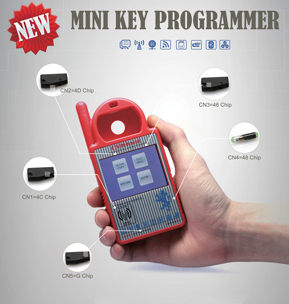 2016 New CN900 MINI Key Programmer Copy 4C 4D 46 48 and 72G Chip Car Locksmith Tool Update Online Free Shipping  10pcs lot ys31 cn5 g chip used for mini cn900 and nd900 key copy machine free shipping