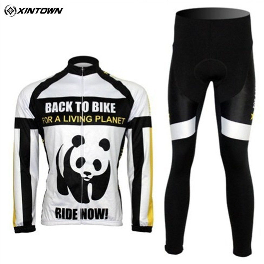XINTOWN Cycling Jersey Fleece Thermal Winter Panda Picture Cycling Bike Bicycle Cycling Clothing Long Sleeve Jersey CC0107-5 black thermal fleece cycling clothing winter fleece long adequate quality cycling jersey bicycle clothing cc5081