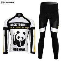 Fleece Thermal Winter Panda Picture Cycling Bike Bicycle Clothing Long Sleeve Jersey Pants