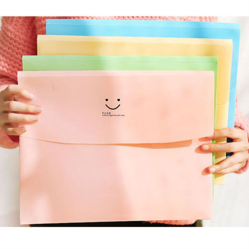 1pc Stationery Receive Bag Candy Color Receptacle A4 File Bag Data Collection Bag Filing Products Expanding Wallet Folder