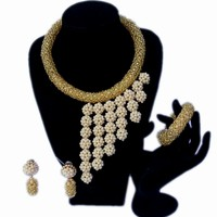 Dudo Jewelry African Beads jewelry Set Balls Wedding necklace for Bride Crystal Beige and Gold Dubai Jewelry Set High Quality