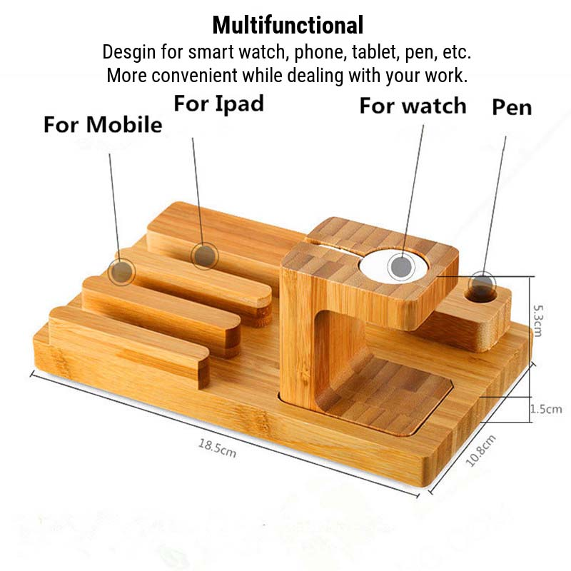 Multifunctional Bamboo USB Charging Dock/Holder for Apple Watch iPhone iPad 7