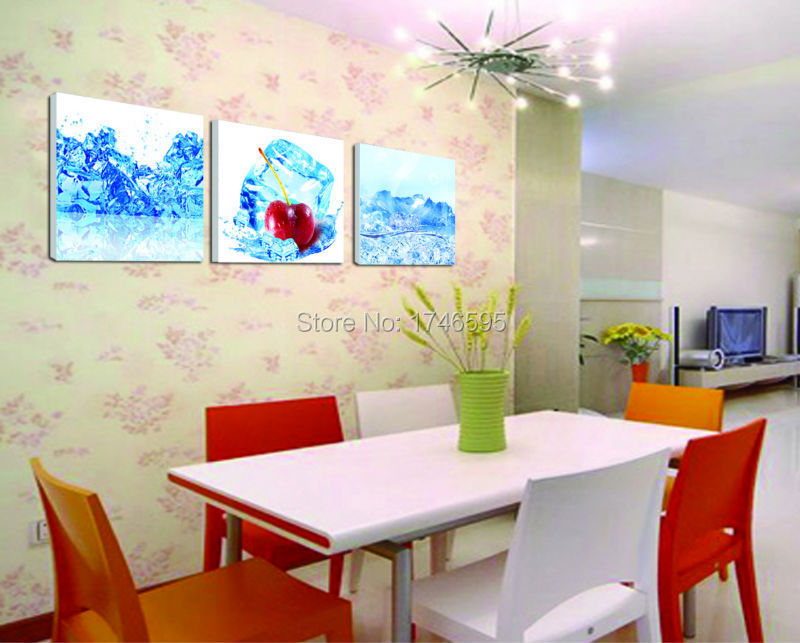 Big 3pcs Modern Home Wall Decor Restaurant Dining Room Art Ice Cherry Fruit