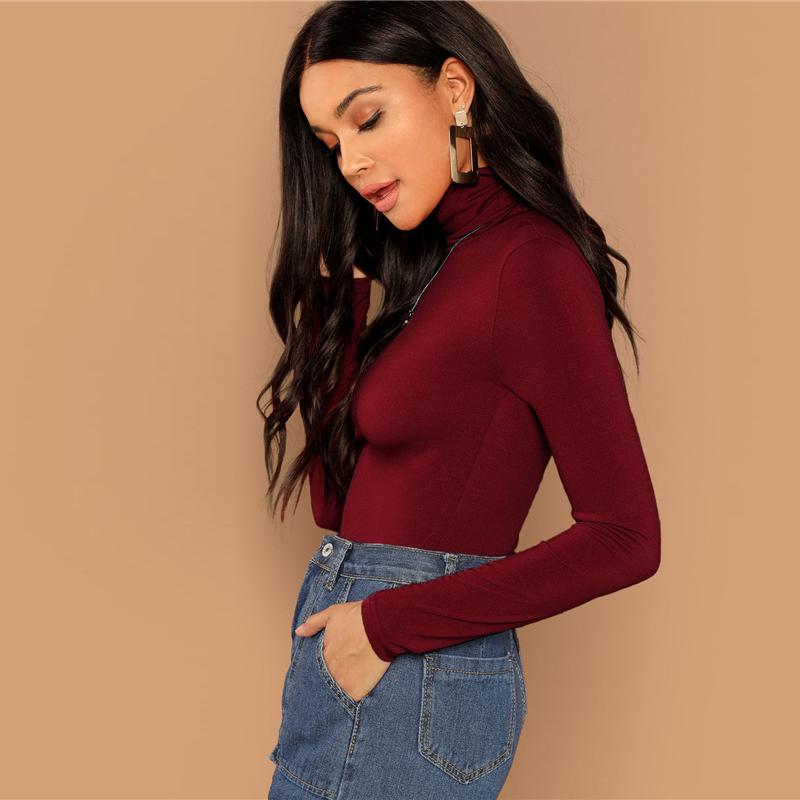 Burgundy Solid High Neck Long Sleeve T-shirt Blouse